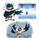 black_eyes closed_mouth commentary do9bessa english_commentary fakemon feathers fusion gen_4_pokemon holding holding_feather kricketot musical_note no_humans pokemon pokemon_(creature) standing staravia talons twitter_username