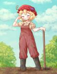 1girl adapted_costume aki_minoriko arinu bangs black_footwear blonde_hair blue_sky boots closed_eyes clouds dirty dirty_clothes dirty_face eyebrows_visible_through_hair farmer food fruit full_body grapes grin hat highres holding mob_cap outdoors overalls rake red_headwear short_hair short_sleeves sky smile solo standing sweat touhou