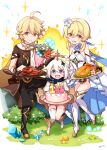 1boy 2girls :d aether_(genshin_impact) ahoge bangs bare_shoulders black_footwear black_pants blonde_hair blue_flower blush boots bouquet breasts brother_and_sister brown_eyes brown_shirt bush cake closed_mouth commentary_request crystal dress explosion eyebrows_visible_through_hair flower food food_on_face genshin_impact grey_hair hair_between_eyes hair_flower hair_ornament highres holding holding_plate knee_boots long_hair lumine_(genshin_impact) multiple_girls mushroom open_mouth paimon_(genshin_impact) pants plate red_flower sansei_rain shirt short_sleeves siblings single_thighhigh small_breasts smile sparkle thigh-highs thigh_boots thighhighs_under_boots turkey_(food) violet_eyes white_dress white_flower white_legwear yellow_flower