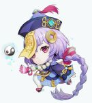 1girl bangs bead_necklace beads braid cape chibi chinese_clothes coin_hair_ornament commentary_request eyebrows_visible_through_hair genshin_impact hair_between_eyes hat highres jewelry jiangshi long_hair long_sleeves looking_at_viewer low_ponytail necklace ofuda orb purple_hair qing_guanmao qiqi_(genshin_impact) shoes sidelocks simple_background single_braid solo violet_eyes vision_(genshin_impact) white_background white_legwear wide_sleeves y.i._(lave2217) yin_yang yin_yang_orb