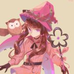 1girl bangs belt belt_buckle bird black_gloves black_neckwear bow brown_hair buckle chinese_commentary commentary_request ellie_niunai_zhuyi_zhe eyebrows_visible_through_hair gloves hair_bow hat heart highres holding holding_staff long_hair long_sleeves looking_at_viewer neck_ribbon original owl pink_bow pink_headwear pink_pupils pink_sweater pursed_lips ribbed_sweater ribbon signature simple_background solo staff sweater upper_body violet_eyes witch_hat x-shaped_pupils yellow_background