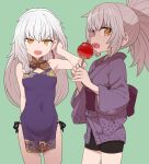 2girls :d bare_shoulders bike_shorts black_panties breasts candy_apple character_request covered_navel earrings fang food green_background grey_hair hair_lift hand_up japanese_clothes jewelry kimono long_sleeves looking_at_viewer multiple_girls obi open_mouth orange_eyes original panties panty_straps ponytail purple_kimono red_sash sash short_kimono side-tie_panties simple_background small_breasts smile sumiyao_(amam) sumiyao_(sumiyao_(amam)) tassel tassel_earrings underwear white_hair wide_sleeves