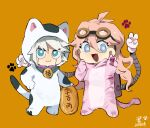 1boy 1girl :d animal_costume antenna_hair bangs blonde_hair blue_eyes cat_costume chibi commentary dangan_ronpa_(series) dangan_ronpa_v3:_killing_harmony dated fang goggles goggles_on_head green_eyes grey_hair hair_between_eyes hand_on_hip hand_up iruma_miu keebo long_hair mechanical_arms open_mouth orange_background paw_print pink_hair shiny shiny_hair short_hair signature simple_background skin_fang smile standing symbol-only_commentary tail translation_request v white_hair xian_(axxxx-721)