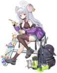 1girl animal_ears asymmetrical_legwear bag black_legwear blue_archive casual chopsticks eating food full_body halo hat jacket long_hair mask mouse_ears mouse_tail noodles official_art ramen rat red_eyes saya_(blue_archive) shoes silver_hair skateboard solo tail transparent_background