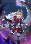 1girl absurdres black_footwear black_legwear blonde_hair book boots bracer cagliostro_(granblue_fantasy) cape crown dragon granblue_fantasy hairband highres holding holding_book huge_filesize long_hair looking_at_viewer moon night night_sky open_mouth red_skirt ru_chochocho skindentation skirt sky smile solo spiked_hairband spikes thigh-highs tiara violet_eyes