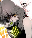 1girl axehorn_(ssambatea) blood can grey_hair highres holding holding_can horns looking_at_viewer monster_energy nosebleed original parted_lips pointy_ears ringed_eyes solo ssambatea sweat upper_body white_background yellow_eyes