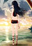 1girl alternate_costume ameno_(a_meno0) back bangs bare_shoulders beach blue_eyes blue_hair blue_swimsuit butt_crack closed_mouth clouds day fire_emblem fire_emblem_awakening fire_emblem_cipher floating_hair full_body gladiator_sandals hair_ornament lips long_hair looking_at_viewer looking_back lucina_(fire_emblem) ocean official_alternate_costume palm_tree sandals short_shorts shorts sky smile solo sunset swimsuit tiara tree water