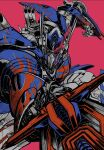 1boy autobot flame_print highres holding holding_sword holding_weapon mecha oohara_tetsuya open_hand optimus_prime pink_background red_eyes science_fiction solo sword transformers transformers:_the_last_knight transformers_(live_action) weapon