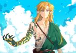 1boy alternate_costume bangs belt blonde_hair blue_eyes brown_belt closed_mouth clouds collarbone day earrings hanabelink jewelry link long_hair looking_at_viewer male_focus messy_hair outdoors pointy_ears ring serious smile solo sparkle the_legend_of_zelda the_legend_of_zelda:_breath_of_the_wild toga twitter_username