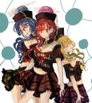 3girls bangs bare_shoulders black_choker black_headwear black_shirt blonde_hair blue_background blue_eyes blue_hair breasts chain choker closed_eyes closed_mouth clothes_writing earth_(ornament) eyebrows_visible_through_hair gold_chain green_skirt hair_between_eyes heart heart_print hecatia_lapislazuli hecatia_lapislazuli_(earth) hecatia_lapislazuli_(moon) looking_to_the_side medium_breasts medium_hair moon_(ornament) multiple_girls off_shoulder open_mouth pink_headwear plaid plaid_skirt polos_crown purple_skirt red_eyes red_heart red_skirt redhead shirt short_sleeves skirt smile standing t-shirt touhou white_background zabuton_(mgdw5574)
