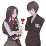 1boy 1girl amamiya_ren animal animal_hug bangs black_hair black_jacket bow brown_skirt cat closed_mouth collared_shirt commentary_request crossed_arms glasses grey_shirt heart highres holding holding_animal holding_cat jacket long_hair long_sleeves looking_at_another morgana_(persona_5) one_eye_closed original persona persona_5 pleated_skirt red_bow red_neckwear shirt short_hair simple_background skirt smile tanu0706 vest violet_eyes