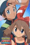 1boy 1girl bangs beanie bow_hairband bracelet brendan_(pokemon) brown_hair closed_mouth collarbone commentary copyright_name english_commentary eyebrows_visible_through_hair eyelashes grey_eyes hair_between_eyes hairband hat highres jacket jewelry looking_at_viewer may_(pokemon) noelia_ponce pokemon pokemon_(game) pokemon_oras red_hairband red_shirt shirt sleeveless sleeveless_shirt smile sweatdrop upper_body white_headwear zipper_pull_tab