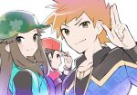 1girl 2boys bangs baseball_cap blue_oak blush bracelet brown_eyes brown_hair bucket_hat camouflage camouflage_headwear closed_mouth coat commentary_request green_coat hair_flaps hand_on_headwear hand_up hat highres jacket jewelry leaf_(pokemon) long_hair looking_at_viewer multiple_boys necklace official_alternate_costume pokemon pokemon_(game) pokemon_masters_ex red_(pokemon) red_headwear shirt smile spiky_hair tudurimike undershirt upper_body