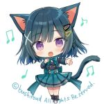 1girl :d animal_ears bangs beamed_eighth_notes black_hair black_jacket black_legwear blue_bow blue_skirt blush bow braid cardfight!!_vanguard cat_ears cat_girl cat_tail character_request chibi eighth_note eyebrows_visible_through_hair full_body hair_ornament hairclip jacket loafers long_sleeves looking_at_viewer loose_socks lowres musical_note official_art open_mouth pleated_skirt quarter_note shirt shoes simple_background skirt smile socks solo standing tail violet_eyes watermark white_background white_footwear white_shirt x_hair_ornament yuuki_rika