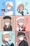 1girl 1other 4boys absurdres baker_nemo_(fate) black_headwear blue_hair box box_of_chocolates braid cabbie_hat candy captain_nemo_(fate) chocolate chocolate_heart collared_shirt commentary_request engineer_nemo_(fate) fate/grand_order fate_(series) food gift happy_valentine hat hat_feather heart highres long_hair long_sleeves looking_at_viewer marine_nemo_(fate) military military_uniform milky-volant multicolored_hair multiple_boys naval_uniform nemo_series_(fate) nurse_cap nurse_nemo_(fate) platinum_blonde_hair professor_nemo_(fate) shirt single_braid translation_request turban twintails two-tone_hair uniform valentine