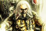 1boy armor blood blood_bag bottle chain commentary_request immortan_joe long_hair looking_at_viewer mad_max mad_max:_fury_road male_focus mask medal mouth_mask old old_man otemoto_(baaaaloooo) skull solo upper_body white_hair