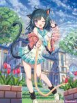 1girl ;d animal_ears bangs bare_shoulders black_hair black_legwear blue_neckwear blue_sailor_collar blue_sky blush brown_jacket building cardfight!!_vanguard cat_ears cat_girl cat_tail character_request clouds cloudy_sky day eyebrows_visible_through_hair fang flower hair_ornament hairclip holding holding_hose hose jacket loafers long_sleeves loose_socks off_shoulder official_art one_eye_closed open_clothes open_jacket open_mouth outdoors pleated_skirt rainbow red_flower sailor_collar shirt shoes skirt sky sleeveless sleeveless_shirt sleeves_past_wrists smile socks solo stairs standing standing_on_one_leg stone_stairs tail tree tulip violet_eyes water watermark white_footwear white_shirt white_skirt window yuuki_rika