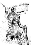 1other animal_head armor breastplate commentary english_commentary greyscale highres holding holding_weapon impaled inktober monochrome monster no_humans original pauldrons shoulder_armor simple_background solo sperm_whale standing vambraces weapon white_background y_naf