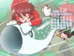 >_< +_+ 1other 2018 bangs bird bow brown_eyes brown_hair calendar_(medium) chicken commentary_request cookie_(touhou) cup dress eyebrows_visible_through_hair fish flying full_body green_bow green_skirt hair_bow hair_tubes hakurei_reimu highres kirisame_marisa long_hair looking_at_another may mug nadeko_(cookie) open_mouth otemoto_(baaaaloooo) red_bow red_dress reiuji_utsuho reu_(cookie) sakenomi_(cookie) shirt short_hair shrine skirt sleeveless sleeveless_dress smile the_chicken_that_appears_in_the_middle_of_cookie touhou tree triangle_mouth uzuki_(cookie) white_shirt yunomi