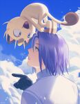 1boy :d absurdres animal_on_head artist_name black_gloves blue_eyes blue_hair blue_sky cat cat_on_head clouds eye_contact from_behind gen_1_pokemon gloves highres huge_filesize james_(pokemon) looking_at_another meowth on_head open_mouth outdoors parted_lips pointing pokemon pokemon_(creature) ruru_(gi_xxy) shirt short_hair sky smile symbol-only_commentary upper_body white_shirt