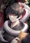 1boy animal_around_neck black_hair black_kimono indoors japanese_clothes kimono male_focus open_mouth original sal shide short_hair snake talisman upper_body yellow_eyes