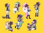 1girl alomomola antenna_hair barefoot baseball_cap black_footwear black_vest black_wristband boots brown_hair commentary_request deerling gen_5_pokemon hagetapo hands_up hat high_ponytail hilda_(pokemon) looking_down multiple_views open_mouth pokemon pokemon_(creature) pokemon_(game) pokemon_bw servine short_shorts shorts simple_background solosis standing stunfisk tepig toes vest vullaby wristband yellow_background
