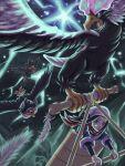 1girl absurdres akari_(pokemon) bird black_hair black_undershirt commentary_request daama_(nep7mvvqcbbxyrn) feathers flying gen_2_pokemon gen_4_pokemon glowing glowing_eyes head_scarf highres hisuian_braviary hisuian_form holding honchkrow jacket light_trail long_hair murkrow pokemon pokemon_(creature) pokemon_(game) pokemon_legends:_arceus ponytail red_scarf scarf sidelocks undershirt white_headwear