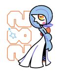 :d alternate_color artsy-rc blue_hair gardevoir gen_3_pokemon highres looking_at_viewer no_humans number open_mouth pokedex_number pokemon pokemon_(creature) shiny_pokemon signature simple_background smile solo standing white_background yellow_eyes