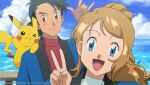 1boy 1girl :d ash_ketchum bangs black_hair blue_jacket brown_eyes closed_mouth clouds commentary couple dango day english_commentary food gen_1_pokemon hand_up jacket light_brown_hair long_hair looking_at_viewer noelia_ponce ocean older open_mouth outdoors pikachu pokemon pokemon_(anime) pokemon_(creature) pokemon_xy_(anime) serena_(pokemon) setsubun shiny shiny_hair sky smile tongue wagashi water