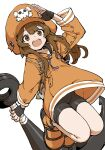 anchor bike_shorts brown_eyes brown_hair guilty_gear guilty_gear_strive hat highres holding holding_anchor hood hoodie looking_at_viewer may_(guilty_gear) open_mouth orange_footwear orange_headwear orange_hoodie orange_shirt pirate pirate_hat salute shirt skull_and_crossbones white_background yamamoto_souichirou