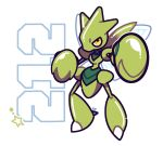 alternate_color artsy-rc full_body gen_1_pokemon highres looking_at_viewer no_humans number pokedex_number pokemon pokemon_(creature) scyther shiny_pokemon signature simple_background solo white_background