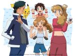 2boys 2girls :d ash_ketchum bangs black_hair blue_eyes blue_pants blue_shorts brown_eyes brown_hair camera character_name closed_mouth collared_shirt commentary crop_top english_commentary eyelashes gen_1_pokemon grey_shirt grin hairband hand_in_pocket hand_up holding holding_camera if_they_mated jacket jewelry light_brown_hair long_hair long_sleeves multiple_boys multiple_girls navel necklace noelia_ponce older one_eye_closed open_clothes open_jacket open_mouth pants pikachu pokemon pokemon_(anime) pokemon_(creature) pokemon_xy_(anime) shiny shiny_hair shirt short_hair shorts skirt sleeveless sleeveless_shirt smile teeth thigh-highs tongue