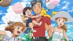 2boys 2girls :d ash_ketchum balloon bangs belt black_belt black_hair brown_eyes brown_hair clouds collared_shirt commentary cotton_candy day dress english_commentary eyewear_on_head facial_hair feeding floette floette_(blue) gen_1_pokemon gen_6_pokemon hair_ornament hairclip hat holding holding_string if_they_mated multiple_boys multiple_girls noelia_ponce older on_shoulder open_mouth outdoors pants pikachu pokemon pokemon_(anime) pokemon_(creature) pokemon_on_shoulder pokemon_xy_(anime) red_shirt serena_(pokemon) shirt short_hair short_sleeves sky smile sunglasses tongue watch watch white_dress white_headwear