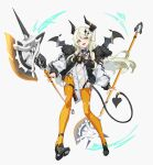 1girl axe breasts cancell demon_horns demon_tail demon_wings dual_wielding fur_collar hair_ornament highres holding horns jacket long_hair looking_at_viewer open_clothes open_jacket open_mouth orange_eyes orange_legwear original platinum_blonde_hair science_fiction side_slit skin_tight small_breasts solo tail thigh-highs white_background wings