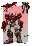 autobot blue_eyes character_name english_commentary highres looking_to_the_side mecha multiple_views no_humans open_mouth optimus_prime redesign science_fiction sharp_teeth teeth tongue tongue_out transformers tyrannosaurus_rex ultrafpc