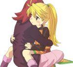 1boy 1girl actinoid blonde_hair blush closed_mouth green_eyes hetero hug pokemon pokemon_adventures redhead silver_(pokemon) sitting straddling sweatdrop yellow_(pokemon)