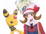 1girl ampharos blue_overalls blush_stickers bow brown_eyes brown_hair cabbie_hat celebi chome_(meme_chon) gen_2_pokemon hat hat_bow highres long_hair looking_down lyra_(pokemon) mythical_pokemon on_head pokemon pokemon_(creature) pokemon_(game) pokemon_hgss pokemon_on_head red_bow red_shirt shirt smile twintails white_headwear yellow_bag