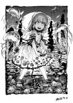 1girl bangs barefoot chinese_commentary commentary dated dress ebisu_eika full_body greyscale heran_hei_mao holding_rock jellyfish long_earlobes long_hair looking_at_viewer monochrome open_mouth outdoors ripples rock short_sleeves smile solo stacking touhou wading water