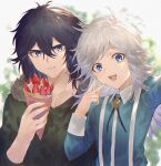 2boys :d absurdres black_hair blue_eyes blue_shirt blurry blurry_background brooch brothers coat crepe dated day eating food fur_trim hair_between_eyes highres huge_filesize iwakiyamayukisatoshironanogojuurokushi_akira iwakiyamayukisatoshironanogojuurokushi_yui jewelry kemono_jihen long_hair multiple_boys open_mouth outdoors selfie shirt siblings smile suspenders upper_body v white_hair yct_(yoct_o)