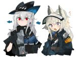 2girls :d animal_ears arknights ascot black_gloves black_headwear blue_gloves closed_mouth commentary gloves grani_(arknights) grey_neckwear hair_between_eyes hat holding_strap horse_ears jacket long_hair multiple_girls odmised open_mouth police police_uniform ponytail red_eyes shirt silver_hair simple_background skadi_(arknights) smile uniform upper_body violet_eyes visor_lift white_background