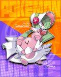 :d blissey bonnet character_name closed_mouth commentary_request copyright_name flower gardevoir gen_2_pokemon gen_3_pokemon kumano_sakunosuke number open_mouth pokedex_number pokemon pokemon_(creature) pokemon_(game) pokemon_unite red_eyes smile tongue white_headwear