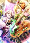 2girls ahoge alternate_hairstyle artoria_pendragon_(fate) blonde_hair braid braided_bun breasts concert cowboy_shot dress electric_guitar fate/grand_order fate_(series) frilled_dress frills from_below glasses green_eyes gu-rahamu_omega_x guitar hair_between_eyes heart highres instrument jewelry long_hair looking_at_viewer medium_breasts multiple_girls mysterious_heroine_x_(alter)_(fate) mysterious_idol_x_(alter)_(fate) nero_claudius_(fate) nero_claudius_(fate/extra) open_mouth plectrum ponytail ring smile yellow_eyes