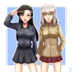 2girls artist_logo asymmetrical_bangs bangs black_hair black_skirt blue_background blue_eyes border brown_eyes brown_jacket character_name chi-hatan_school_uniform commentary_request cosplay costume_switch dress_shirt english_text girls_und_panzer grey_shirt hand_on_hip high_collar insignia itsumi_erika jacket kuromorimine_school_uniform light_frown long_hair long_sleeves looking_at_viewer medium_hair miniskirt multiple_girls nishi_itsumi nishi_kinuyo open_mouth outline outside_border partial_commentary pleated_skirt red_skirt salute school_uniform shirt side-by-side silver_hair skirt smile standing straight_hair white_border white_outline wing_collar
