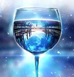 1other blue_theme clouds cup dock drinking_glass full_moon horizon lens_flare moon night night_sky original reflection scenery sky smile_(qd4nsvik) solo sparkle standing star_(sky) water