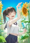 1girl ao+beni arm_up artist_name bangs belly blue_skirt blue_sky blush brown_hair candy closed_eyes commentary_request flower food happy highres holding holding_candy holding_food ice_cream leaf medium_hair navel open_mouth original ponytail shirt skirt sky smile solo standing sunflower white_shirt yellow_flower