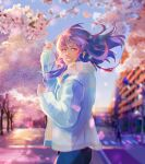 1girl absurdres ahoge arm_up bangs blue_eyes blue_hair blue_jacket blurry blurry_background blush building cherry_blossoms city commentary commission denim evening everlasting_summer flower from_side fur_trim highres huge_filesize jacket jeans long_hair long_sleeves looking_at_viewer pants parted_lips petals road samantha_reed_smith smile solo_focus standing street tree upper_body wind wskiey