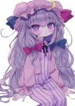 1girl :< bangs blue_bow bow closed_mouth crescent crescent_pin dress eyebrows_visible_through_hair hair_bow hat highres long_hair long_sleeves looking_at_viewer mob_cap multiple_bows patchouli_knowledge pink_headwear purple_dress purple_hair red_bow renakobonb sidelocks simple_background sitting slit_pupils solo striped striped_dress touhou white_background