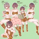 6+girls :o alternate_costume animal_print bangs bare_arms bare_shoulders blanket blush book bra breasts bunny_hair_ornament coffee_cup collarbone commentary_request crossed_legs cup disposable_cup dress green_background hair_ornament hair_over_one_eye heart heart_print highres holding holding_book holding_cup horns kirishima_touka knee_up long_hair medium_breasts multiple_girls multiple_persona navel open_book orange_bra orange_dress orange_legwear orange_panties outline panties purple_hair shiny shiny_hair short_hair sitting smile tiger_print tokyo_ghoul tokyo_ghoul:re toukaairab translation_request underwear white_outline