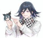 >_< 2boys bangs black_hair black_scarf checkered checkered_neckwear checkered_scarf chibi closed_eyes dangan_ronpa_(series) dangan_ronpa_v3:_killing_harmony flipped_hair grey_jacket grey_scarf hair_between_eyes hands_up holding holding_another jacket long_sleeves male_focus medium_hair multiple_boys ouma_kokichi poking purple_hair saihara_shuuichi scarf short_hair simple_background sketch smile tanu0706 teeth upper_body violet_eyes white_background