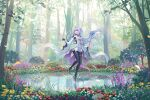 1girl ahoge black_gloves black_legwear breasts commentary_request dress elsa_(g557744) fate/grand_order fate_(series) fingerless_gloves flower forest gloves high_heels holding holding_staff long_hair medium_breasts merlin_(fate/prototype) nature open_mouth pantyhose petals pointy_ears pond short_dress solo staff standing standing_on_liquid tree very_long_hair violet_eyes white_dress white_footwear white_hair
